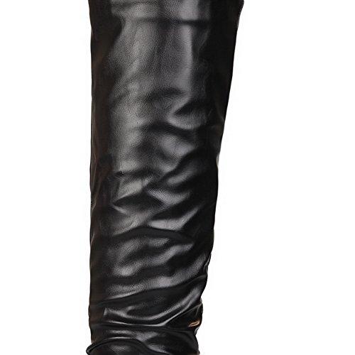 Neri Womens High Balamasa top Uretano Stivali Solide Pull su pqq06H
