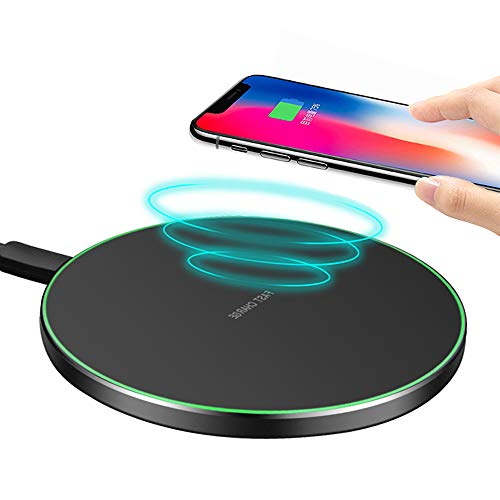 (10W Fast Wireless Charger Pad/Mat Upgraded,QI-Certified Ultra Thin Round Alloy Wireless Charging Station Compatible with iPhone Xs XR Max iXR X 8/8P/Galaxy S9 S8 S7 Note 9/8 Huawei Mate20(Black))