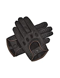Men Genuine Leather Driving Texting Touch Screen Unlined Knuckle Holes Gloves (Black/Brown, Medium)