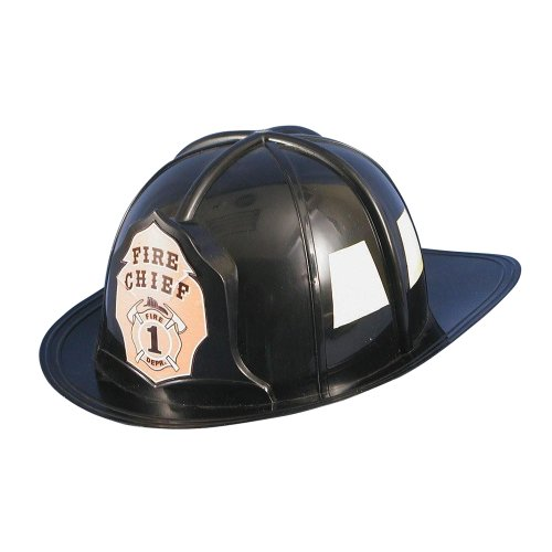 HMS Fireman Hat Adult Sized Hard Plastic, Black, One Size -