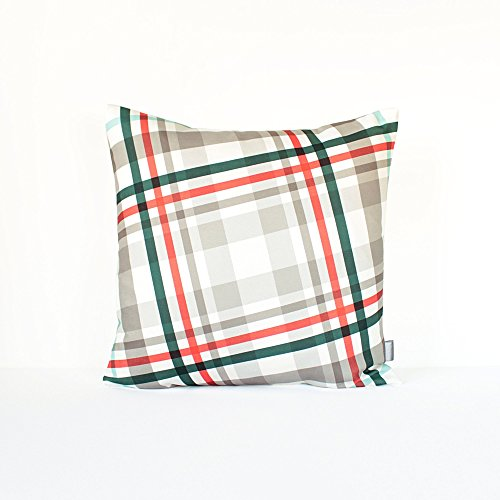 Petrol Plaid (Plaid Christmas Pillow Cover in Gray, Red, Petrol Blue / Gray Plaid Pillow / Plaid Christmas Cushion / Holiday Cushion Cover / 18