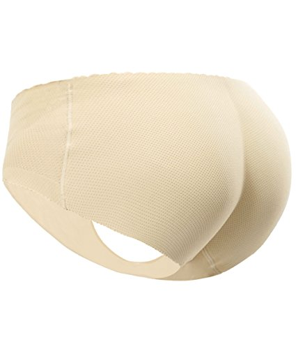Everbellus Women's Padded Seamless Butt Hip Enhancer Panties Boy Shorts Beige X-Small