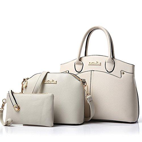 fanhappygo Damen Handtaschen PU Leder Leder Handtaschen Schulter Wallet Geldbörse Beutel Tote Schultaschen Messenger Bags Weiß uDmza0qU