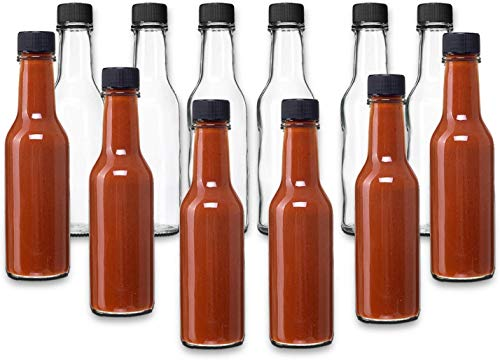 - Hot Sauce Woozy Bottles, 5 Oz with Black Caps and Incerts - 24 Pack by PremiumVials