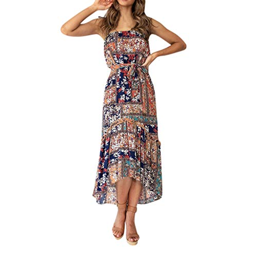 Loosebee Women's Summer Casual Halter Button Print Bohemian Casual Dress Brown ()