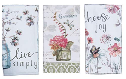 (Kay Dee 3 Piece Choose Joy, Live Simply and Garden Floral Terry Cloth Towel Set - 3 Towels with Artwork by Lisa Audit Butterflies Flowers and Mason Jars)