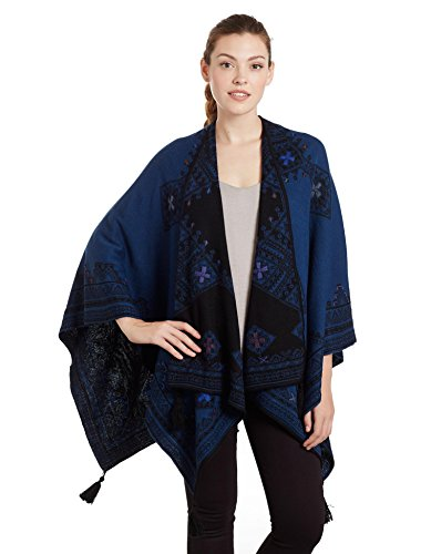 Invisible World Women's Reversible Baby Alpaca Hand Embroidered Poncho Ocean by Invisible World
