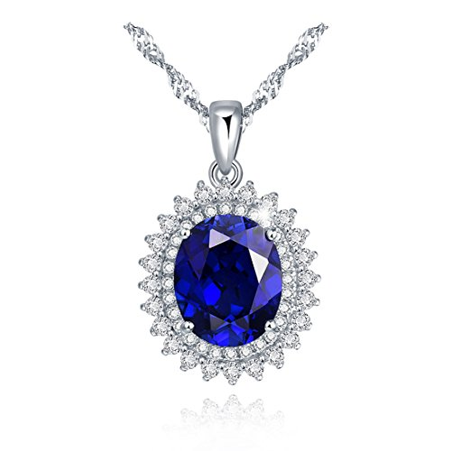 - Chic Code 3.5 Ct 18K Gold Plated Sterling Silver Created Blue Sapphire Necklace Jewelry for Women