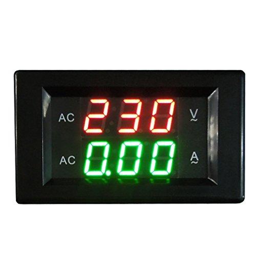 Qisuw Dual Digital Voltmeter Ammeter AC 500V 50A Volt Amp Tester Gauge Meter Red+Green LED