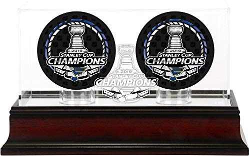 Fanatics Authentic NHL St. Louis Blues Stanley Cup Champions Mahogany Two Hockey Puck Logo Display Case, Black, One Size (Steiner Sports Puck Case)
