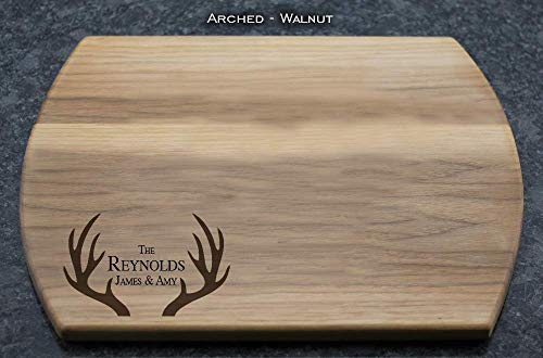 (Antlers - Personalized, Engraved Cutting Board with Couple's Names and Last Name in Maple, Cherry, Walnut, or Mahogany, Wedding Gift, Anniversary Gift, House-Warming Gift)