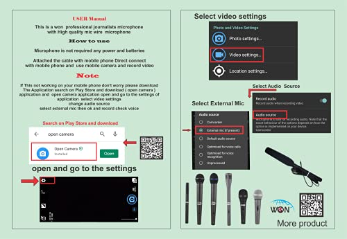 WON Reporter/Journalist/Interview/News/YouTube/Reporting Microphone/Mic for Mobile