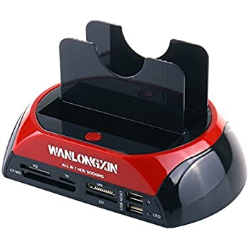 """WANLONGXIN 875J All in 1 2.5""""3.5"""" Dual Slots USB2.0 SATA IDE HDD Docking Station Card Reader (No Support the WD IED Hard Drive)"""