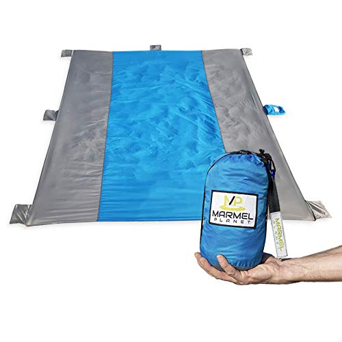 XL Sand Proof Beach Blanket by Marmel Planet - Compact Picnic Mat - 9x10 Highly Durable Ripstop Nylon - Lightweight - Repels Water - Zipper Pocket - Attached Storage Bag - BONUS Waterproof Bag