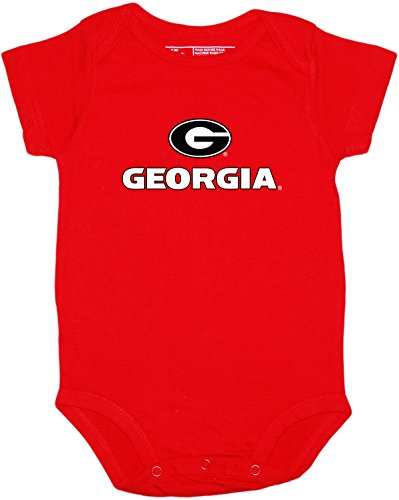 Creative Knitwear Georgia Newborn Baby Clothes, Bulldog, Boy and Girl College Bodysuit,Georgia - Circle G - Red,0 - 3 Months