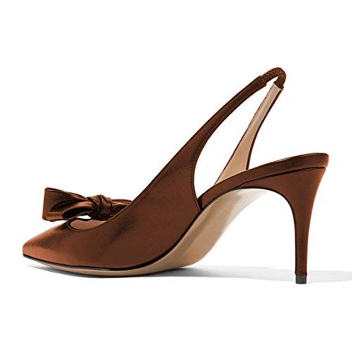 Xyd Mujeres Moda Punta Estrecha Bombas Slingback Tacón Alto Slip En Zapatos De Vestir Con Arcos Sienna