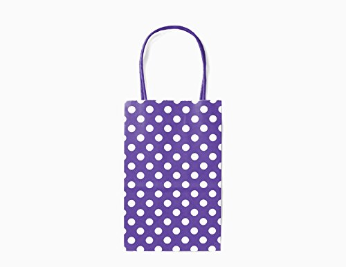 12CT SMALL PURPLE POLKA DOT BIODEGRADABLE, FOOD SAFE INK & PAPER, PREMIUM QUALITY PAPER (STURDY & THICKER), KRAFT BAG WITH COLORED STURDY HANDLE (Small, -