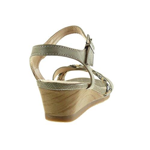 Angkorly - Chaussure Mode Sandale Mule femme lanière tréssé brillant Talon compensé 5 CM - Gris