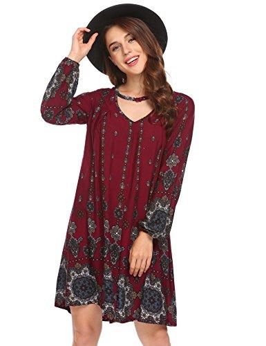 Beyove Women's Casual Floral Print V Neck Long Puff Sleeve A-line Swing Maxi Beach Loose Tunic Dress