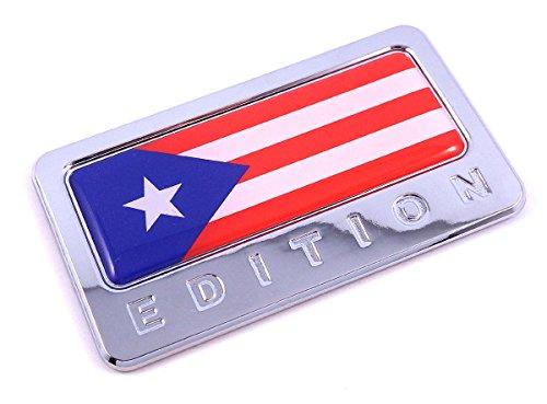 Puerto Rico Edition Chrome Emblem Puerto Rican flag 3D decal Car bike ()