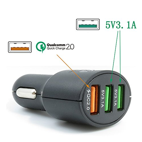 DHMXDC 35W 3-Port USB Car Charger with Smart Qualcomm Quick Charge 2.0 Technology Adaptive Charging Technology 5V 3.1A ; Includes a 3.3ft Quick Charge Micro USB Cable - Black