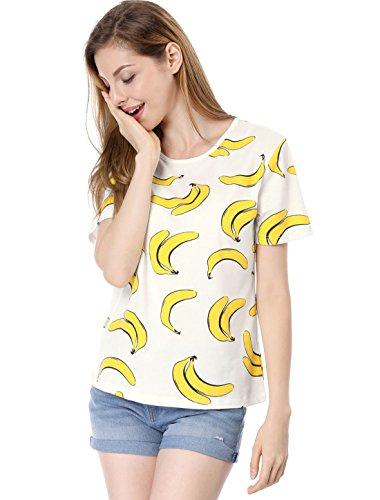 Allegra K Women's Bananas Printed Short Sleeves Casual T-Shirts White S
