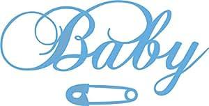 Marianne Design Creatables Troqueles con diseño Baby Texto (Eline), Metal, Azul, 20 x 9 x 0,5 cm