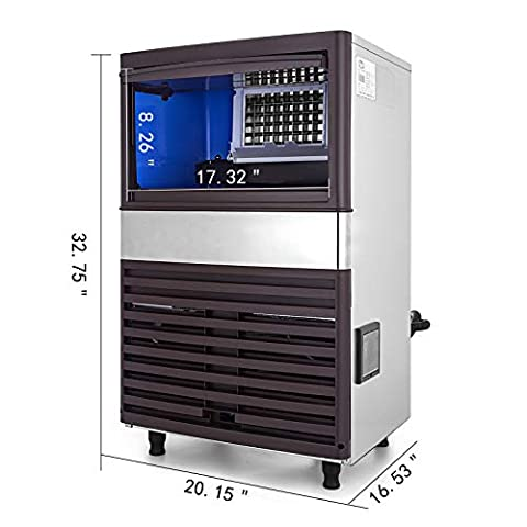 VEVOR 110V Commercial Ice Maker 110LBS/24H with 39LBS Bin, Clear Cube, LED Panel, Stainless Steel, Auto Clean, Include…