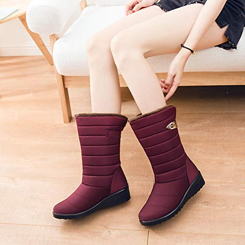 Fourrure Chaussures Antidérapant Femme Imperméable Bottines Gemvie Bottes D'hiver Chaud Doublure Rouge Neige Polaire De W2HIE9D