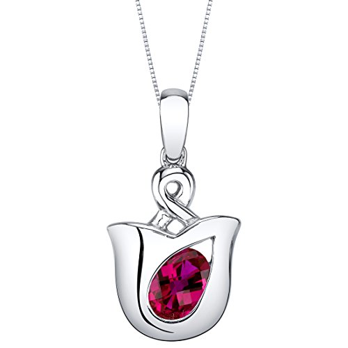 - Created Ruby Sterling Silver Tulip Pendant Necklace