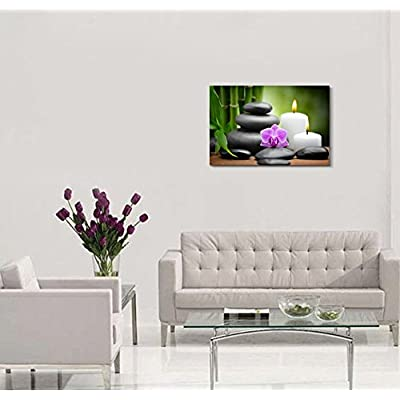 Canvas Prints Wall Art - Zen Basalt Stones and Orchid Spa,Beauty and Calmness Concept | Modern Wall Decor/Home Decoration Stretched Gallery Canvas Wrap Giclee Print & Ready to Hang - (32