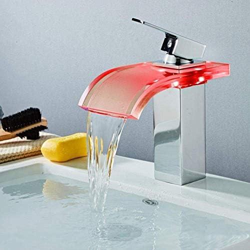 DXX-HR タップタップ蛇口ツェッペリン流域の蛇口の真鍮の滝の温度の色の変更浴室のミキサーのタップのデッキは、ウォッシュシンクガラスタップホットとコールドタップをマウント