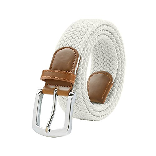 White Braided Belt - Maikun Braided Elastic Stretch Woven Belt with Leather Tip Nickle Pin Buckle 41 45 49in Father's Day Gifts