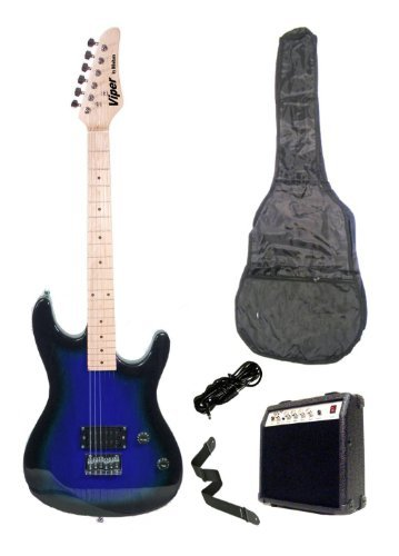 c Guitar and Amp Pack & Carrying Case & Accessories, (Guitar, 10 Watt Amplifier, Whammy Bar, Strap, Cable, Strings, & DirectlyCheap(TM) Translucent Blue Medium Guitar Pick) (Blues Electric Amps)