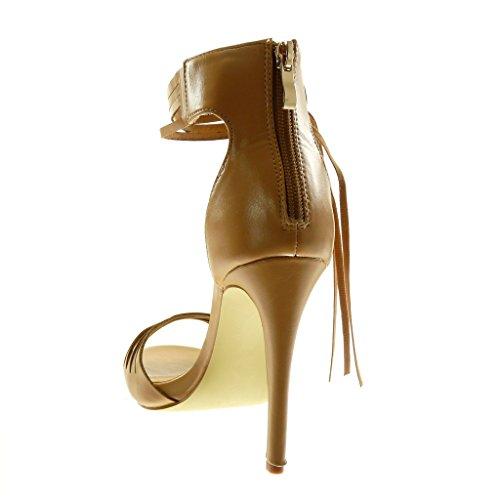 Tacco con 11 Perforato Donna Cinturino Alto Scarpe Briglia cm Frange Sandali Stiletto beige Decollete Caviglia Multi Angkorly Moda Alti con Stiletto alla Tacco qwIAxqX