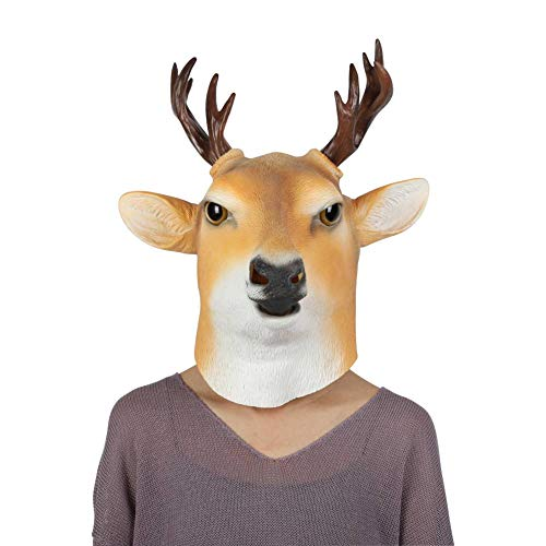 Smartcoco Halloween Costume Latex Sika Deer Animal Head Mask for Halloween Masquerade Party ()