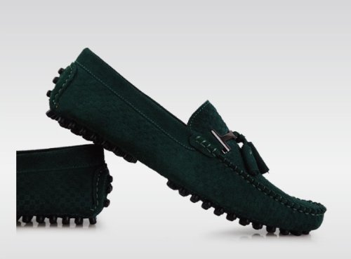 Loafers Shoes Men's Slip Green Tassel HAPPYSHOP Peacock Driving Casual Suede on Leather TM Moccasin Loafer Comfort ptqA18x