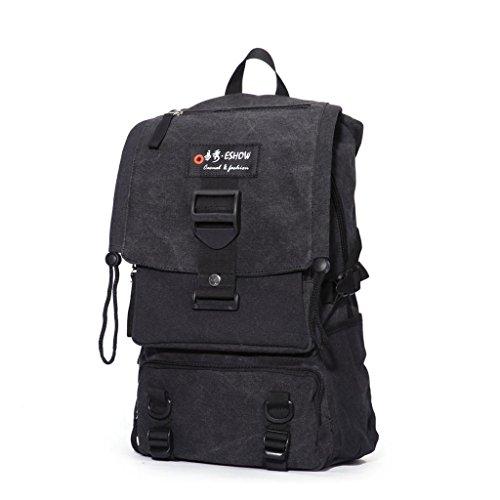 Eshow Men's Canvas Backpack Hiking Outdoor Rucksack Bag, Grey