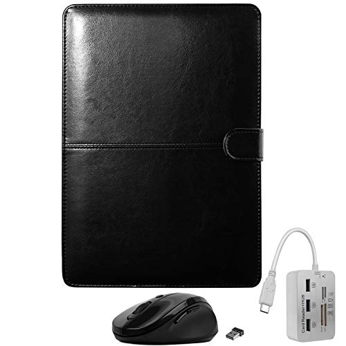 ub Memory Card Reader, Wireless Mouse, and Protective Vegan Leather Portfolio Case Bundle for 13-inch MacBook Air Late 2018 Release A1932 Folio Cover ()