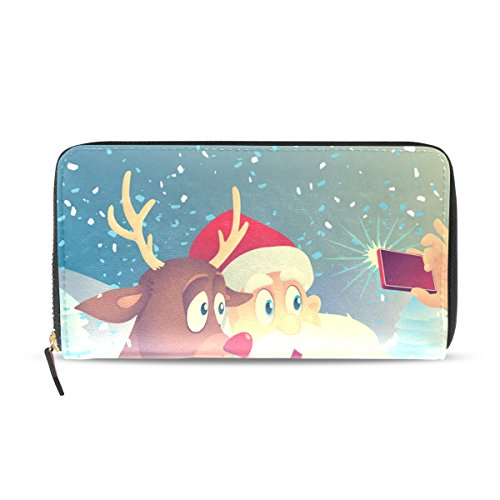 Clutch Wallet Rudolph Leather Card Bags Women Holder PU And Credit Together Photo Taking Purse Santa Claus Long BENNIGIRY 4qgB5w1