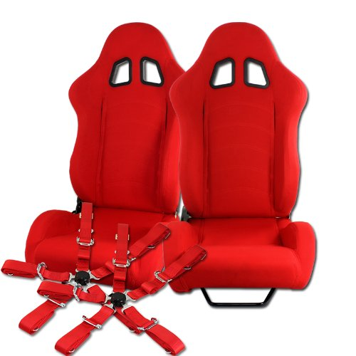 (2 x Red T1 Style Red Universal JDM Reclinable Cloth Racing Seats + Red Seat Belts)