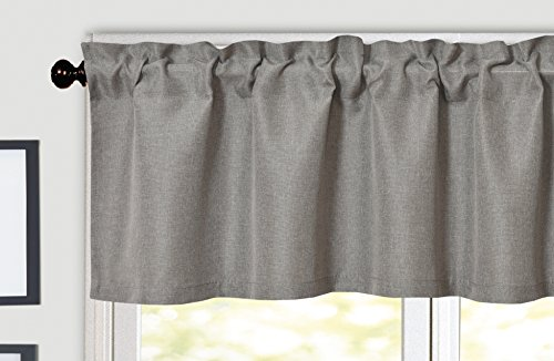 Aiking Home Solid Rod Pocket Valance for Window, 55 by 16-inch, Gray