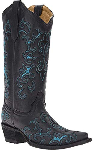Corral Circle G Womens Black/Turquoise Fleur-De-Lis Embroidered Cowboy Boots