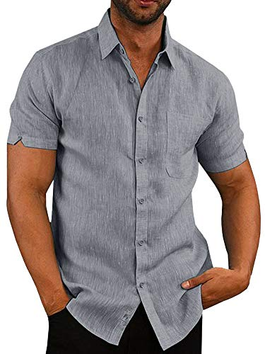(Pengfei Mens Short Sleeve Shirts Button Down Linen Cotton Fishing Tees Spread Collar Plain Summer Shirts Grey)