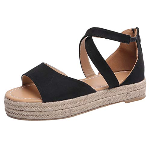 (Women Summer Espadrille Ankle Strap Flat Sandals,FAPIZI Peep Toe Flip-Flop Platform Thick-Bottom Roman Shoes Black)