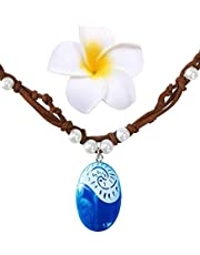 Joy day Costume Necklace for Moana Dress Up Accessories for Girls Halloween Party Favors (Blue)