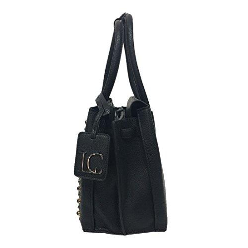 LA CARRIE BAG borsa donna nera con applicazioni fumo/nero art 172-V-630-BT/BLA PANDORA SHOPPING