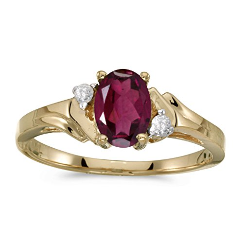 FB Jewels 14k Yellow Gold Genuine Red Birthstone Solitaire Oval Rhodolite Garnet And Diamond Wedding Engagement Statement Ring - Size 7 (0.87 Cttw.) ()