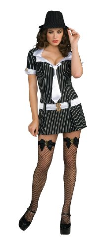 Secret Wishes Womens Mafiosa Costume, Black, Large]()
