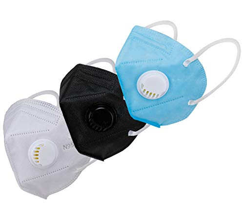 Longwalk N95 Anti Virus, Air Purifier 5 Layer Mask with Respirator Filter and Nose Clip Protection for Nose, Mouth (CE-FDA-Gem & ISO Approved) (White Black Blue, Free Size, Pack of 3) Price & Reviews